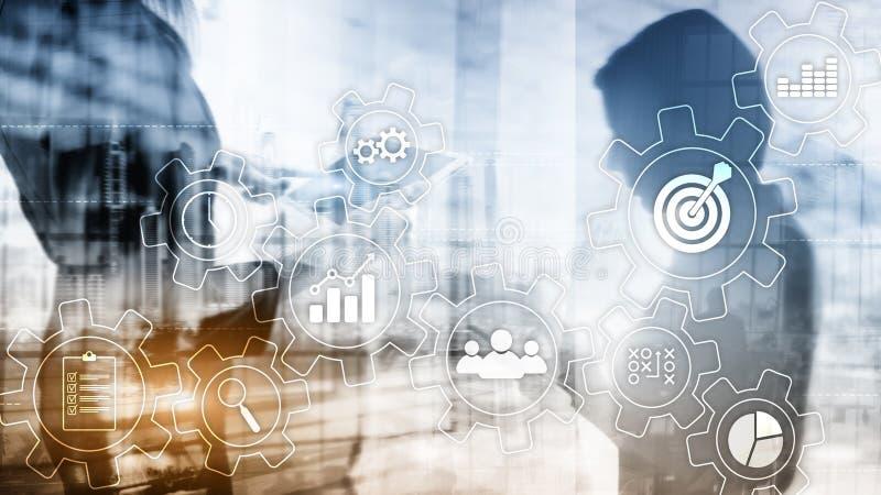 Concetto di automazione di processo aziendale Ingranaggi ed icone su fondo astratto immagine stock libera da diritti