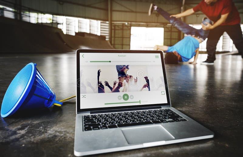 Concetto di ballo della via di abilità di ballo del hip-hop di breakdance immagine stock libera da diritti