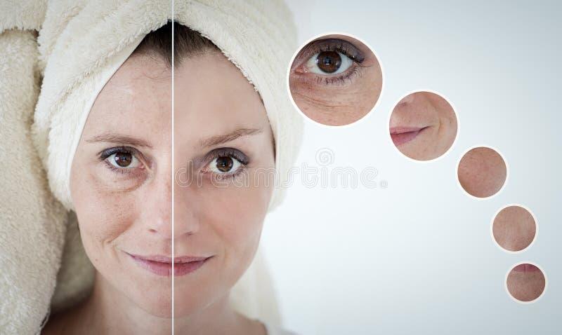 concetto di bellezza - cura di pelle, procedure antinvecchiamento, ringiovanimento, immagini stock libere da diritti