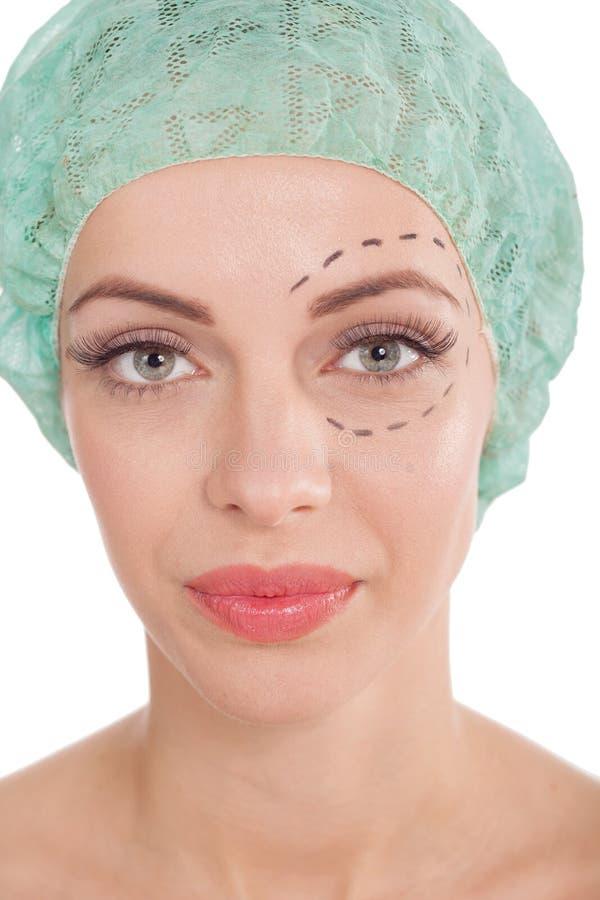 Concetto di bellezza e della chirurgia estetica immagini stock libere da diritti