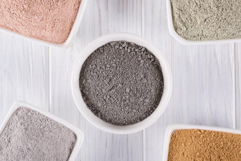 Concetto di bellezza La disposizione piana, fango differente dell'argilla spolverizza gli ingredienti naturali per la maschera ca immagine stock