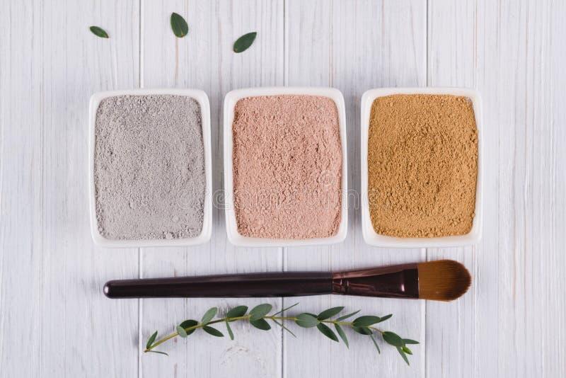 Concetto di bellezza La disposizione piana, fango differente dell'argilla spolverizza gli ingredienti naturali per la maschera ca fotografia stock