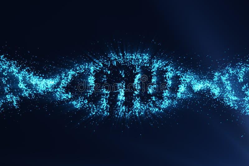 Concetto di biochimica con la molecola del DNA su fondo blu, concetto scientifico di ingegneria genetica, tinta blu, 3d illustrazione di stock