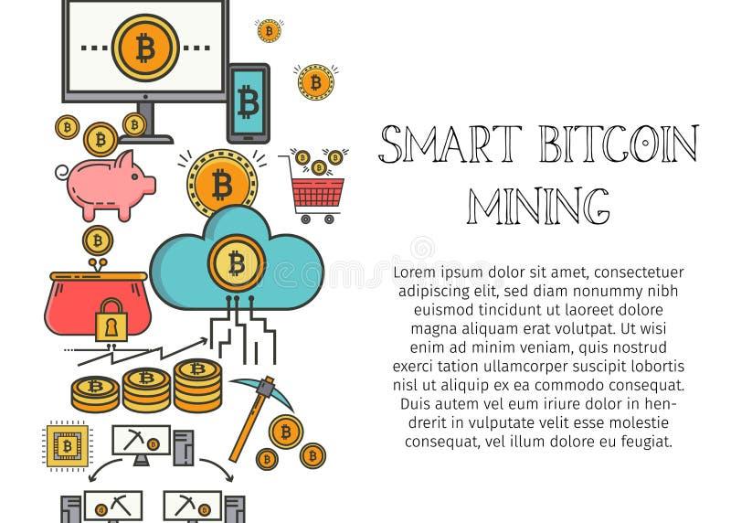 Concetto di Bitcoin Blockchain per la pagina Web, insegna, presentazione, media sociali Illustrazione di vettore che fa gli inves illustrazione di stock
