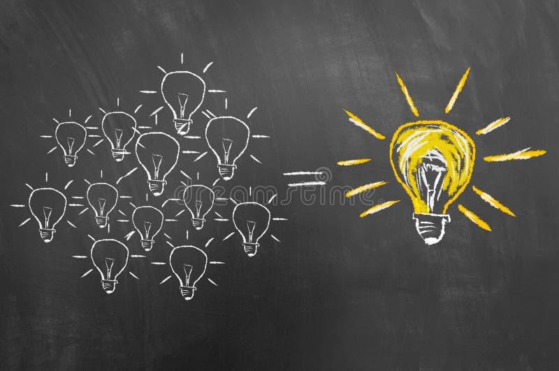 Concetto di 'brainstorming' con la lampadina sulla lavagna o blackboar immagine stock