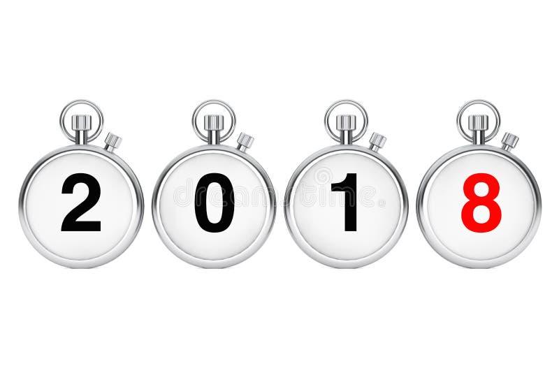 Concetto di Buon Natale e del nuovo anno Cronometri con 2018 nuovi illustrazione vettoriale