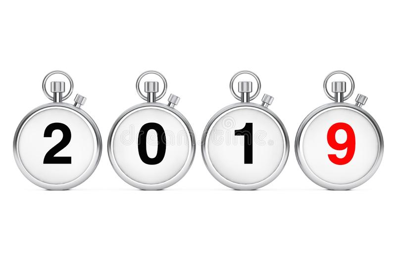 Concetto di Buon Natale e del nuovo anno Cronometri con 2019 nuovi illustrazione vettoriale