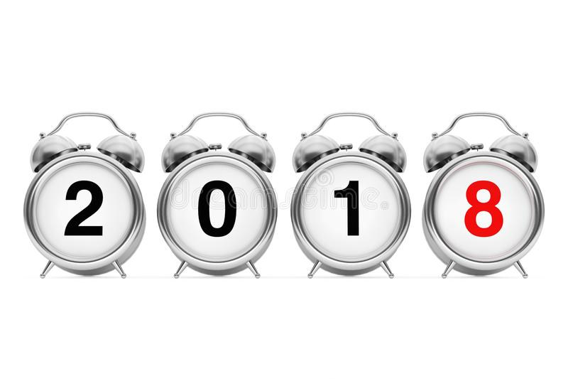 Concetto di Buon Natale e del nuovo anno Sveglia con 2018 nuovi illustrazione di stock
