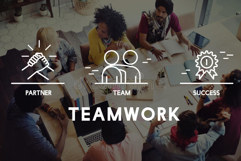 Concetto di Business Collaboration Teamwork Corporation fotografia stock