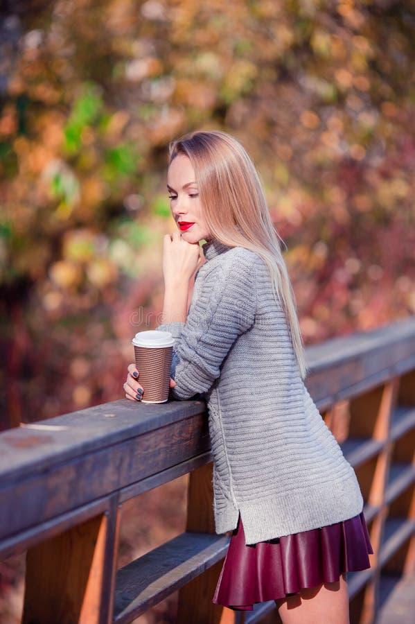 Concetto di caduta - caffè bevente della bella donna nel parco di autunno sotto il fogliame di caduta fotografie stock libere da diritti