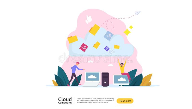 Concetto di calcolo della nube Ospitalit? servizio in rete o del sistema di memorizzazione online della base di dati con il carat illustrazione vettoriale