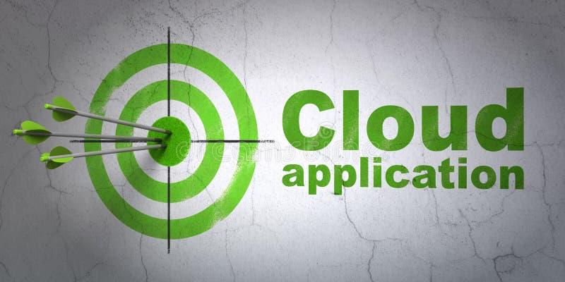 Concetto di calcolo della nuvola: applicazione della nuvola e dell'obiettivo sul fondo della parete illustrazione vettoriale