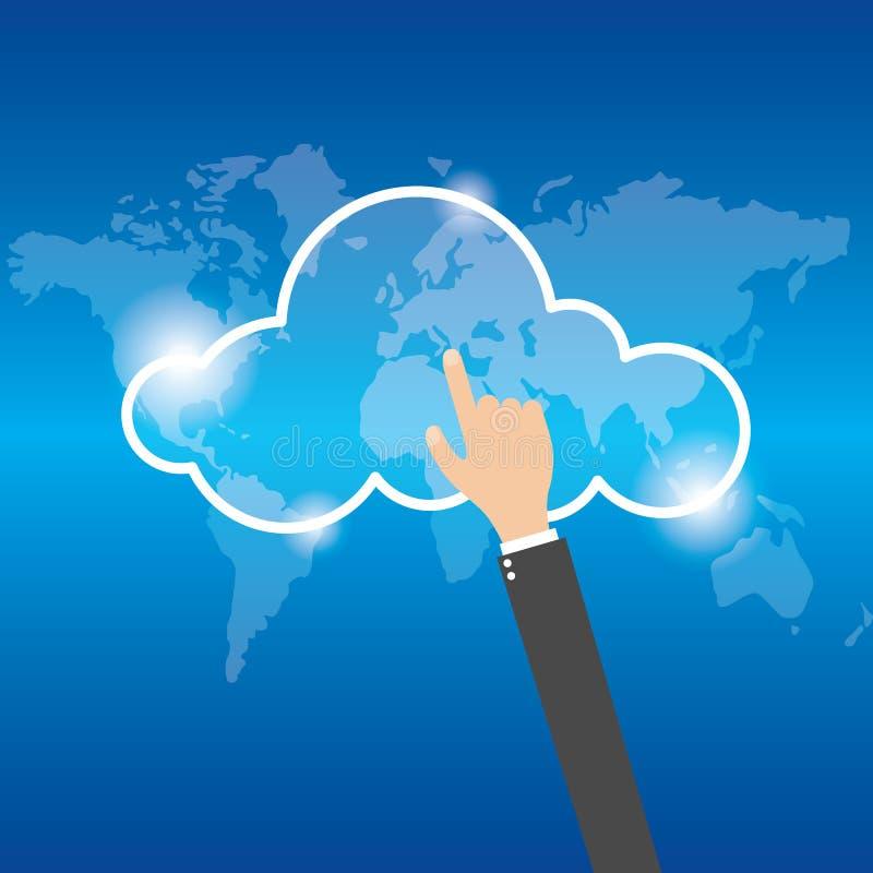 Concetto di calcolo della nuvola di tocco della mano dell'uomo d'affari Vettore illustrazione di stock