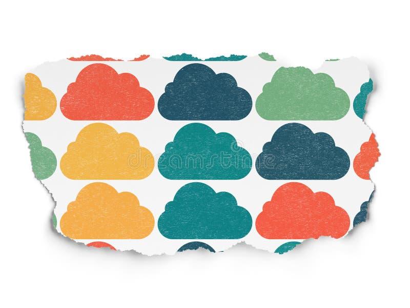 Concetto di calcolo della nuvola: Icone della nuvola su carta lacerata immagini stock libere da diritti