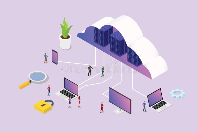 Concetto di calcolo della nuvola isometrica 3d con la gente del gruppo ed il vario computer dello smartphone del computer portati illustrazione di stock