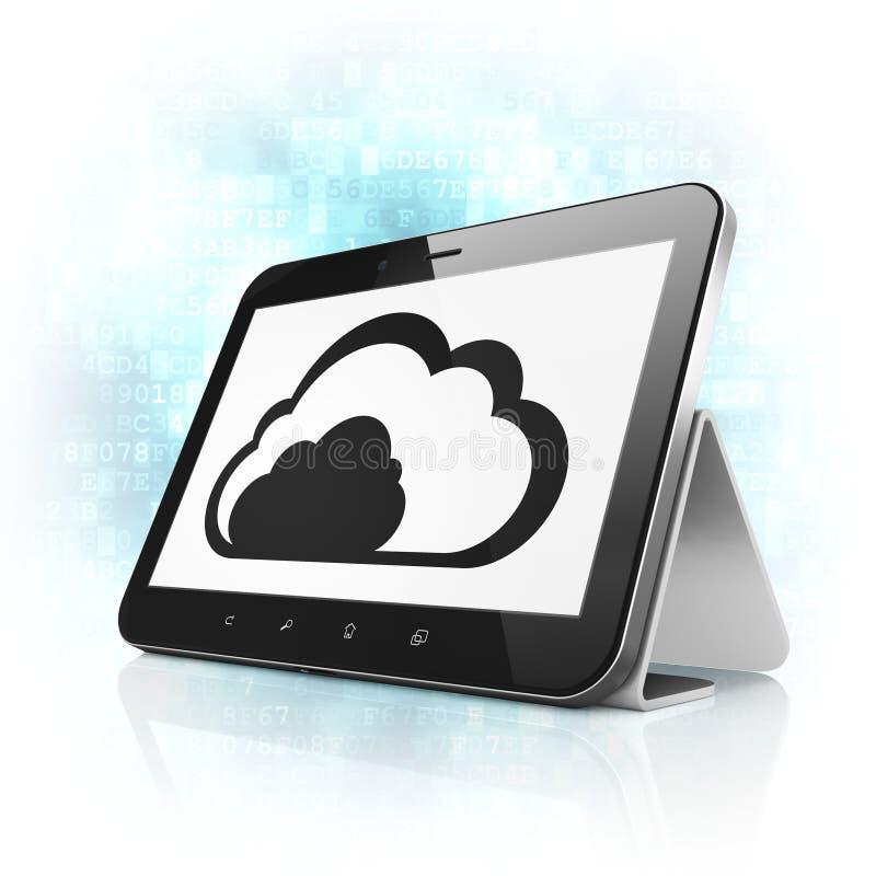 Concetto di calcolo della nuvola: Nuvola sul pc della compressa illustrazione di stock