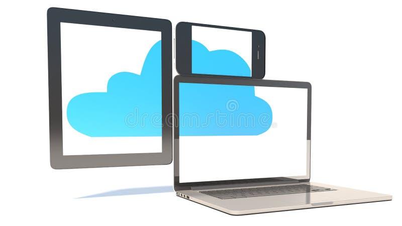 Concetto di calcolo della nuvola - PC della compressa, Smartphone, computer portatile illustrazione vettoriale