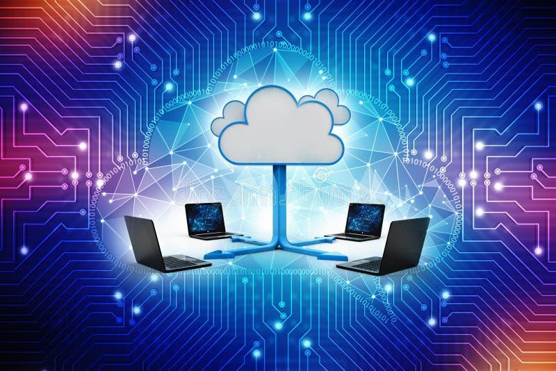 Concetto di calcolo della nuvola, rete della nuvola rappresentazione 3d illustrazione di stock