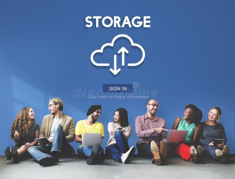 Concetto di calcolo di informazioni del grande backup dei dati di registrazione fotografia stock