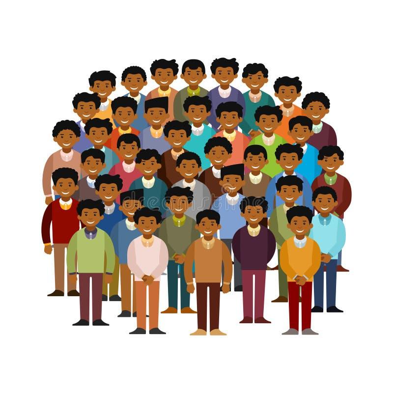 Concetto di carnagione scura di vettore della comunità degli uomini nello stile piano illustrazione vettoriale