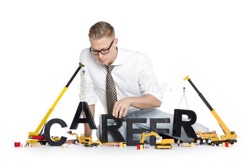 La carriera comincia su: Carriera-parola della costruzione dell'uomo d'affari. immagini stock