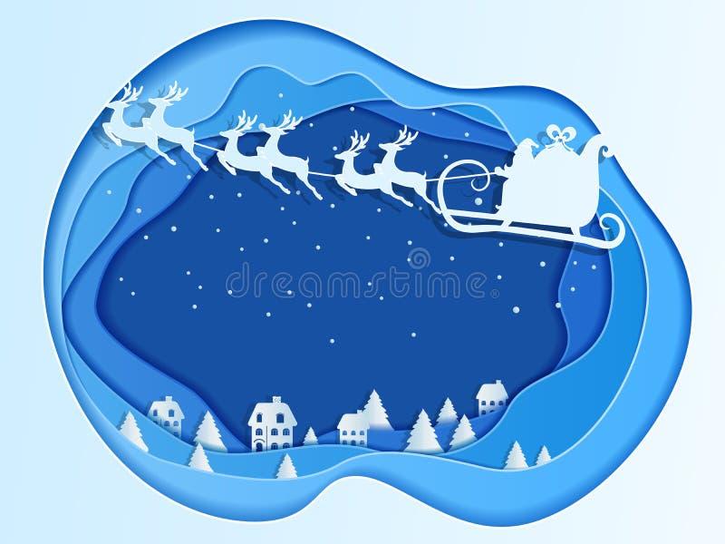 Concetto di carta di profondità di arte di natale con il volo del Babbo Natale con la slitta della renna sul cielo al villaggio royalty illustrazione gratis