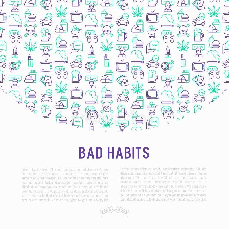 Concetto di cattive abitudini con la linea sottile icone royalty illustrazione gratis