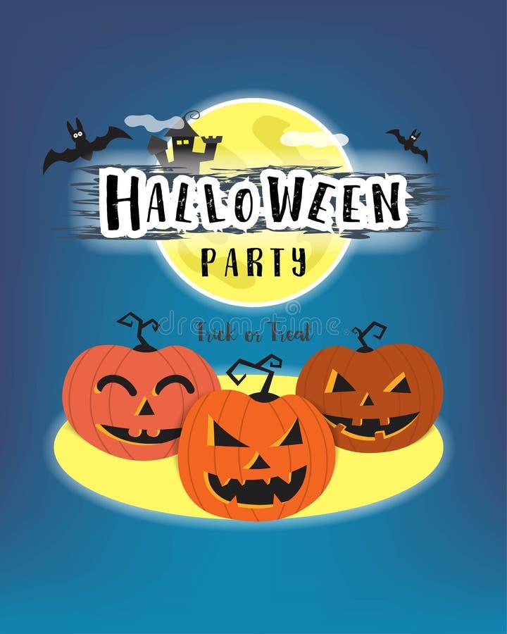 Concetto di celebrazione di giorno di Halloween, orrore della zucca e luna piena illustrazione di stock
