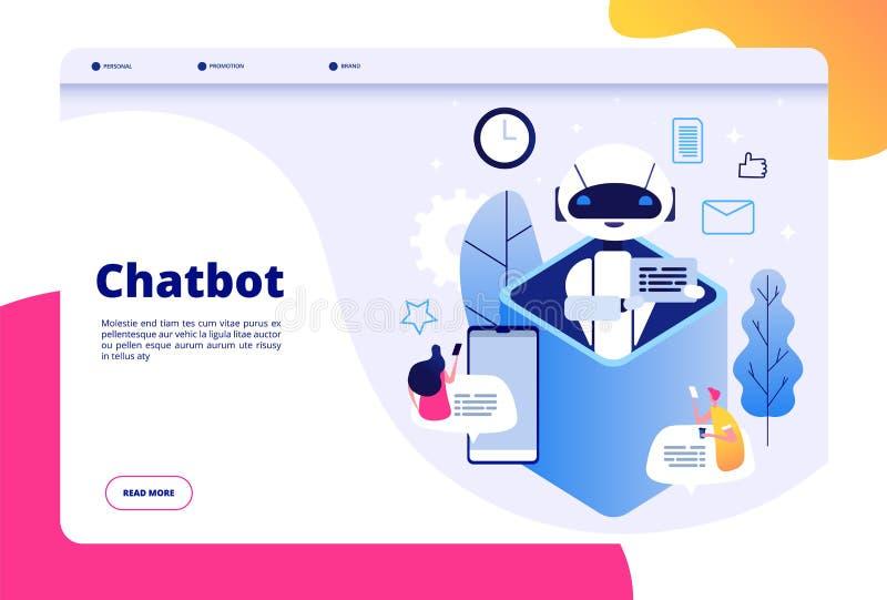 Concetto di Chatbot La chiacchierata con l'uomo della donna di androide che parla con il telefono cellulare con bots dell'applica royalty illustrazione gratis