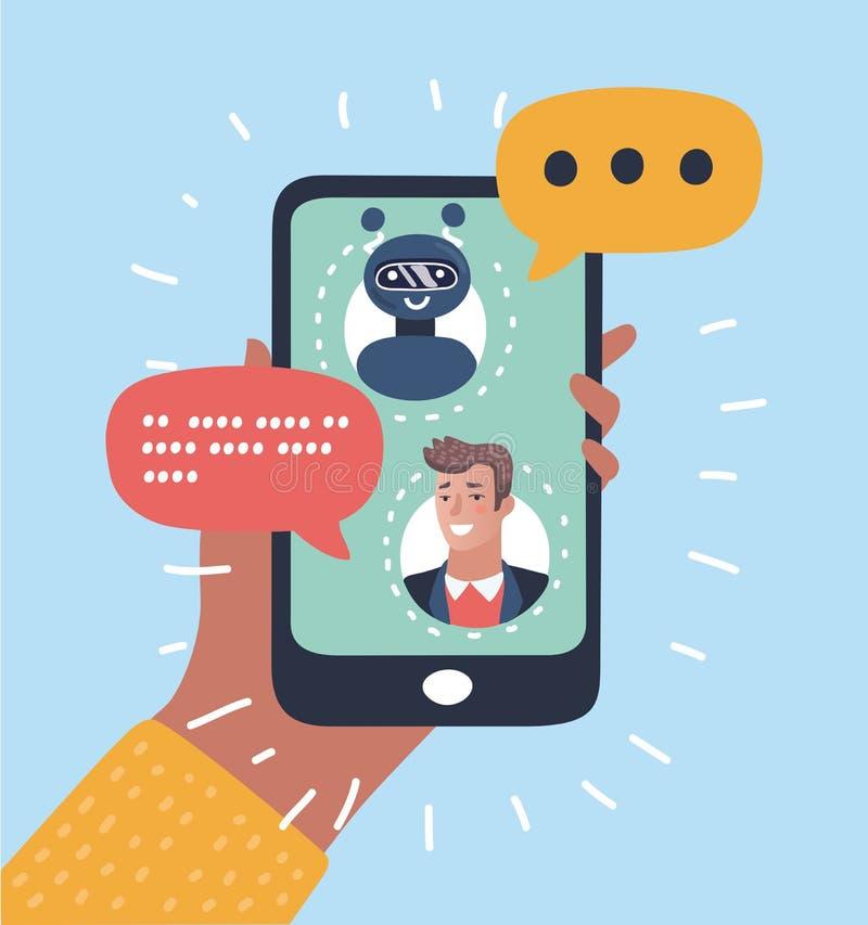 Concetto di CHIACCHIERATA BOT Uomo che chiacchiera con il bot di chiacchierata sullo smartphone royalty illustrazione gratis