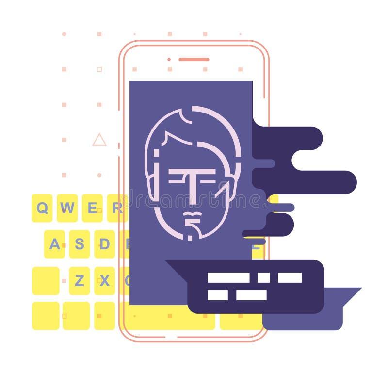 Concetto di chiacchierata chiacchierando con il chatbot sullo smartphone Illustrazione di vettore royalty illustrazione gratis