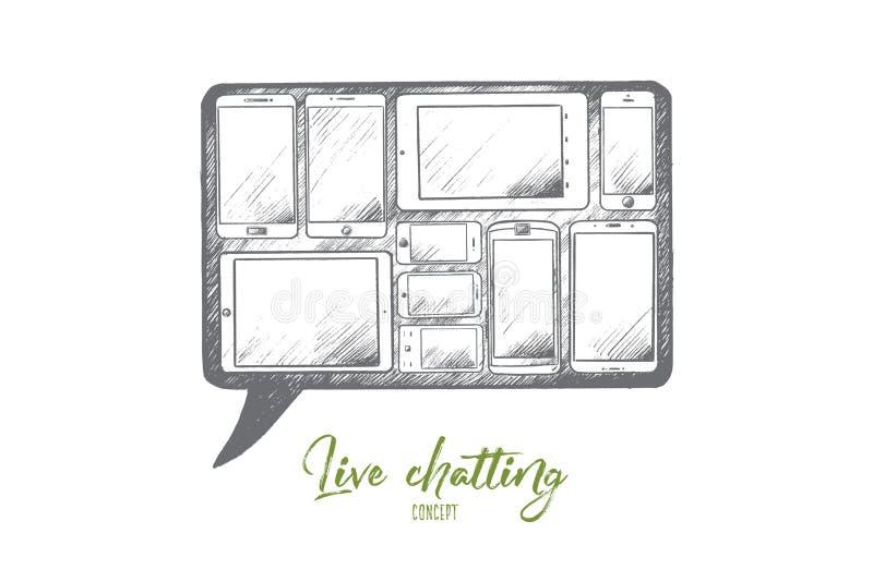 Concetto di chiacchierata Live Vettore isolato disegnato a mano royalty illustrazione gratis