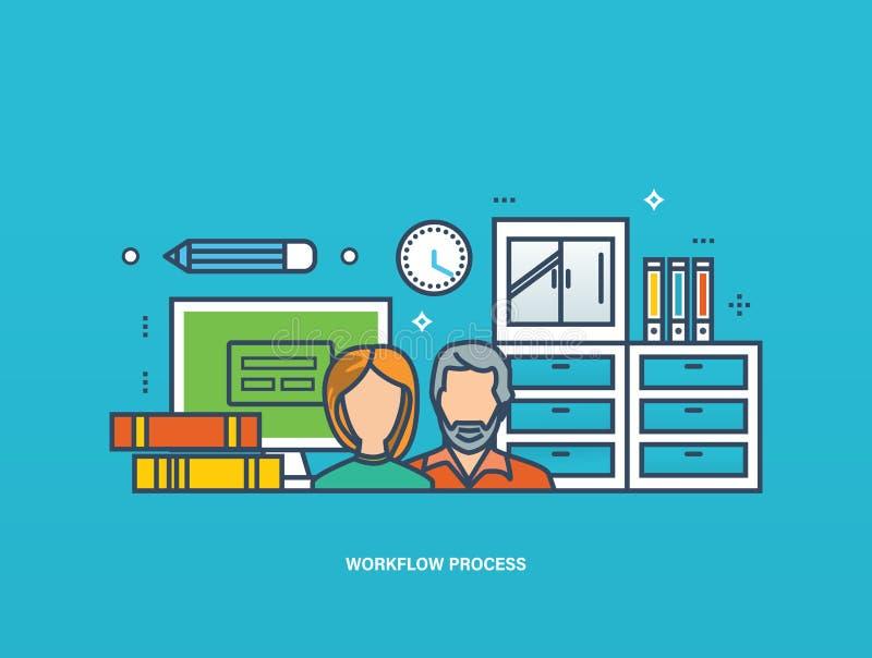 Concetto di collaborazione e di pianificazione aziendale della gestione di flusso di lavoro illustrazione di stock