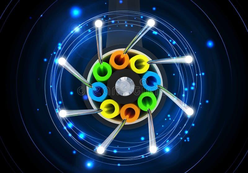 Concetto di collegamento ottico 3D della fibra illustrazione vettoriale