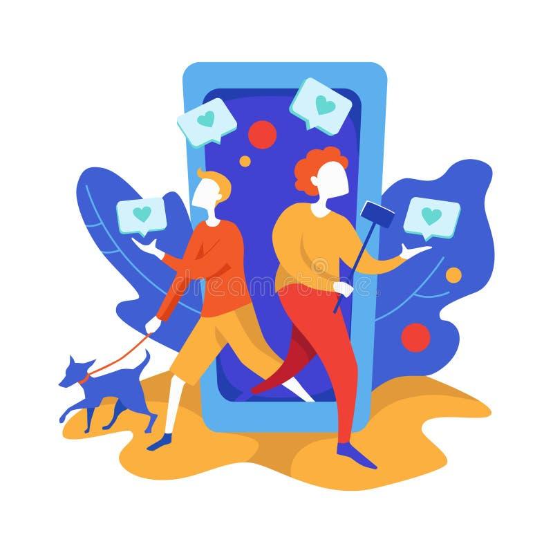 Concetto di commercializzazione sociale di media Metodo di promozione Donna felice con il bastone e l'uomo del selfie con il cane illustrazione vettoriale