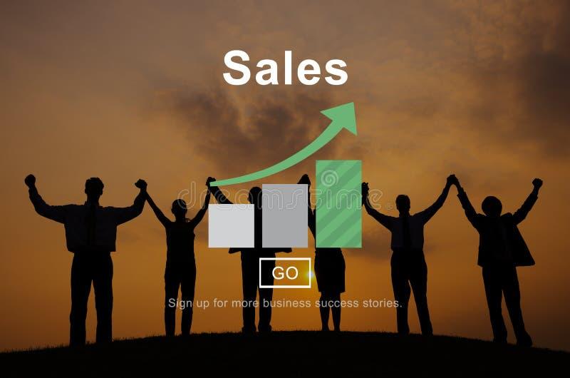Concetto di commercio di affari di finanza di reddito di vendite fotografia stock