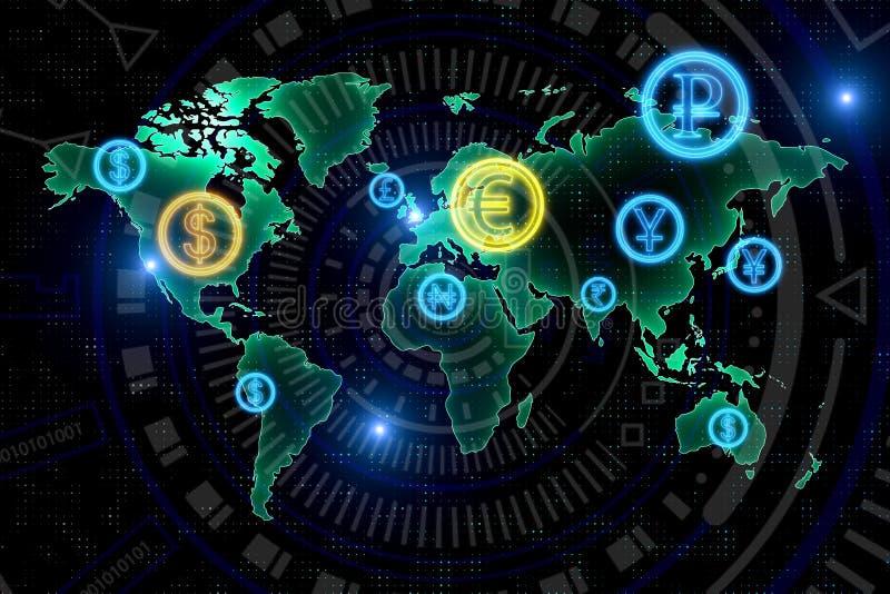Concetto di commercio e di affari globali royalty illustrazione gratis