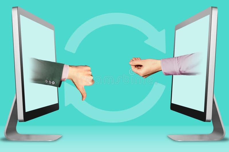 Concetto di commercio elettronico, due mani dalle esposizioni pollici giù, avversione e gesto di supplica illustrazione 3D fotografia stock
