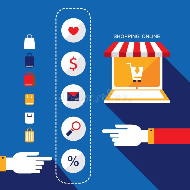 Concetto di commercio elettronico Persona che sceglie i prodotti per comprare o vendere via il negozio di Internet illustrazione vettoriale