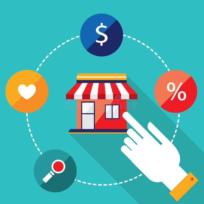 Concetto di commercio elettronico Persona che sceglie un negozio per comprare, vendere i prodotti royalty illustrazione gratis