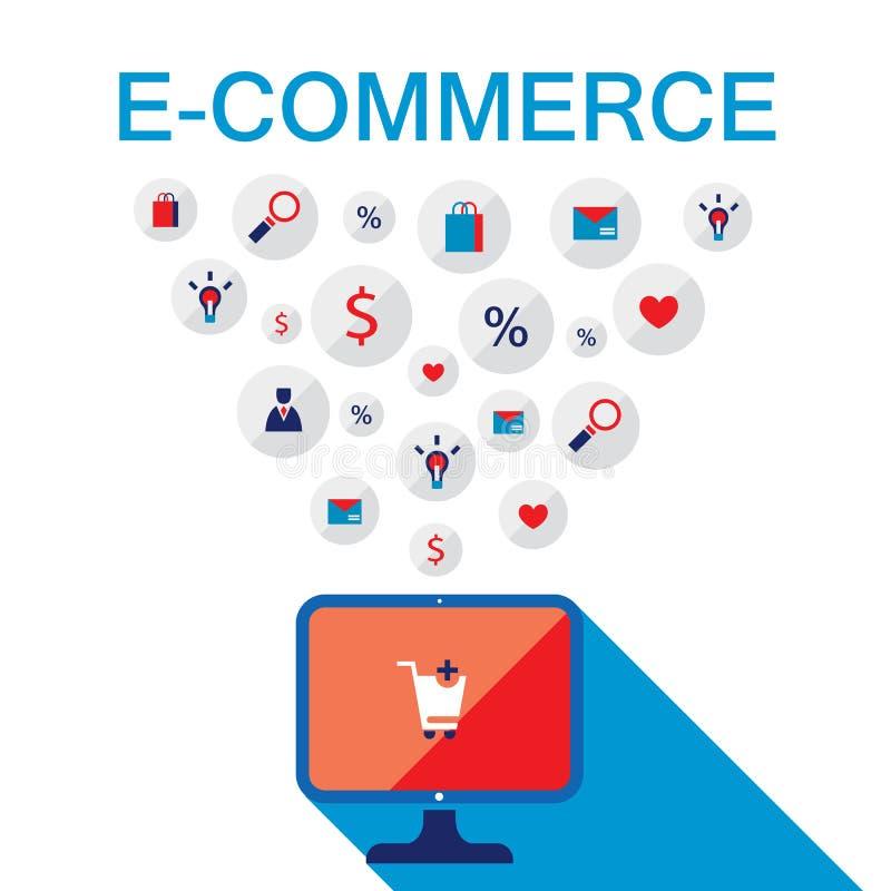 Concetto di commercio elettronico Prodotti online del deposito, di acquisto, di vendita e dell'affare illustrazione vettoriale