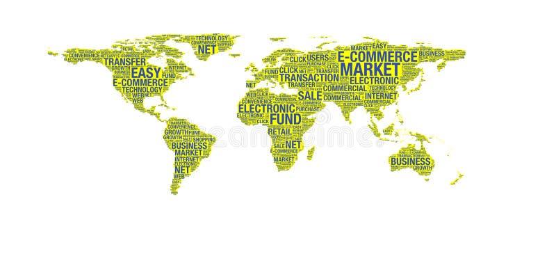Concetto di commercio elettronico sulla mappa di mondo illustrazione vettoriale