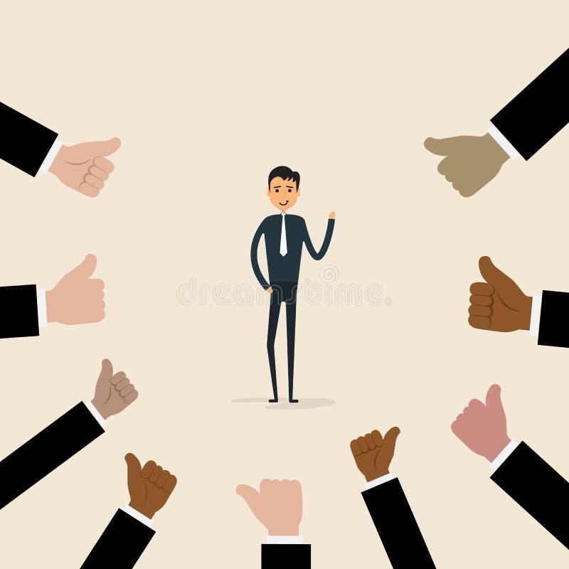 Concetto di complimento di affari e di riconoscimento Successo e Achi illustrazione vettoriale