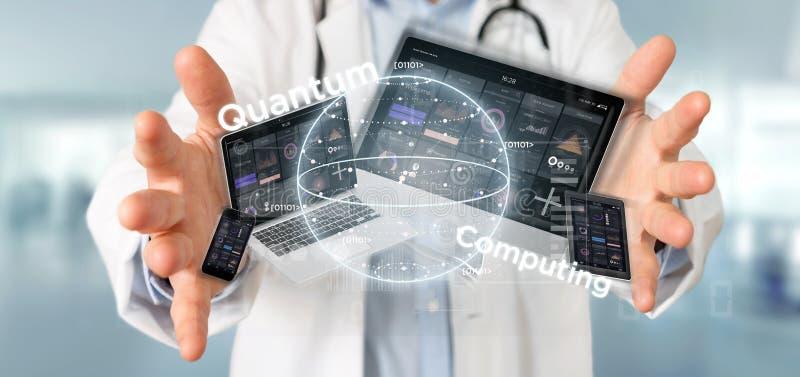 Concetto di computazione di Quantum della tenuta di medico con la rappresentazione dei dispositivi e del qubit 3d immagine stock