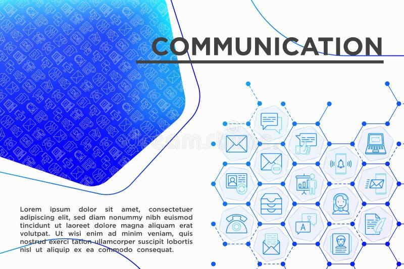 Concetto di comunicazione con la linea sottile icone: email, telefono, chiacchierata, royalty illustrazione gratis