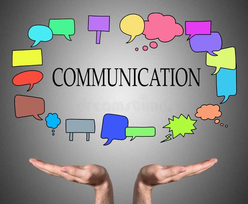 Concetto di comunicazione continuo dalle mani aperte fotografia stock
