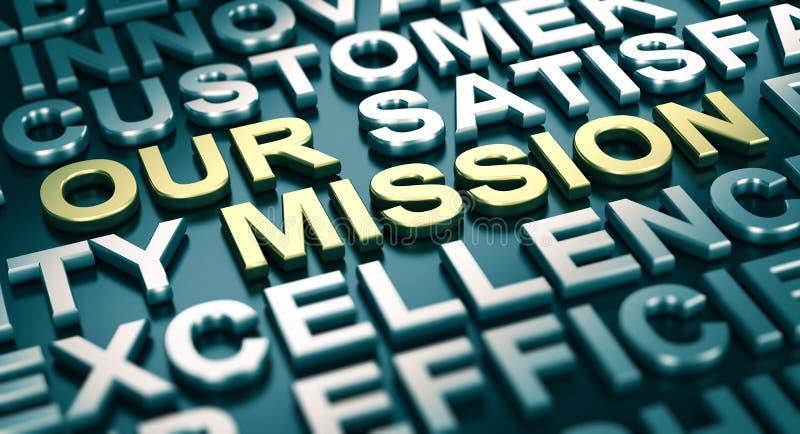 Concetto di comunicazione corporativa, la nostra missione illustrazione di stock