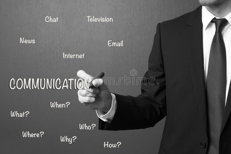 Concetto di comunicazione di scrittura dell'uomo di affari immagine stock libera da diritti