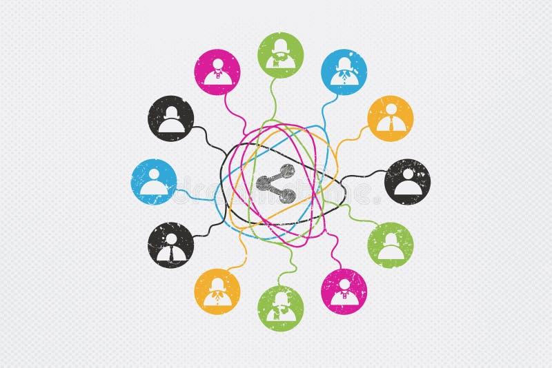 Concetto di comunicazione e della rete sociale royalty illustrazione gratis