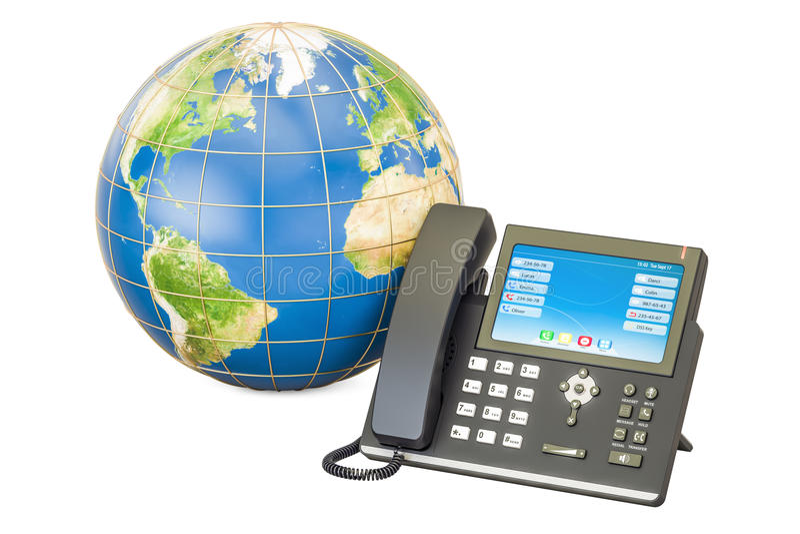 Concetto di comunicazione globale Il telefono del IP con il globo della terra, 3D si strappa illustrazione di stock